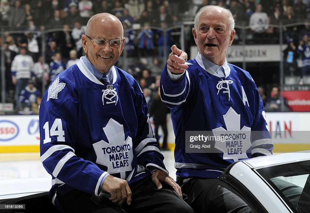Dave Keon and Dick Duff take part in a on ice ceremony honouring the 50th anniversary of the 1963 Stanley Cup winning team prior NHL game action between the Toronto Maple Leafs and the Ottawa Senators February 16, 2013 at the Air Canada Centre in Toronto, Ontario, Canada.