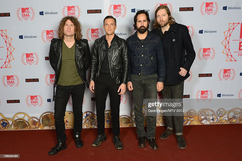 Dave Keuning, Brandon Flowers, <a gi-track='captionPersonalityLinkClicked' href=/galleries/search?phrase=Ronnie+Vannucci&family=editorial&specificpeople=228165 ng-click='$event.stopPropagation()'>Ronnie Vannucci</a> Jr.and <a gi-track='captionPersonalityLinkClicked' href=/galleries/search?phrase=Mark+Stoermer&family=editorial&specificpeople=234409 ng-click='$event.stopPropagation()'>Mark Stoermer</a> of The Killers attend the MTV EMA's 2012 at Festhalle Frankfurt on November 11, 2012 in Frankfurt am Main, Germany.