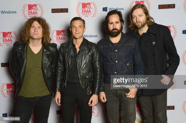 Dave Keuning Brandon Flowers Ronnie Vannucci Jrand Mark Stoermer of The Killers attend the MTV EMA's 2012 at Festhalle Frankfurt on November 11 2012...