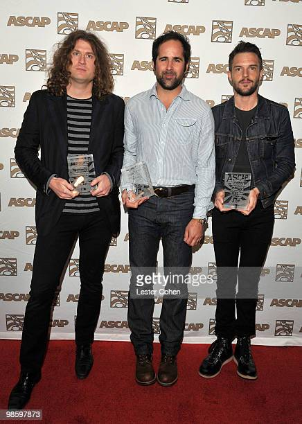 Dave Keuning Ronnie Vannucci Jr and Brandon Flowers arrive at the 27th Annual ASCAP Pop Music Awards held at the Renaissance Hollywood Hotel on April...