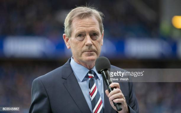 Dave King Rangers Chairman reads out a message to the Rangers Fans before the UEFA Europa League first qualifying round match between Rangers and...