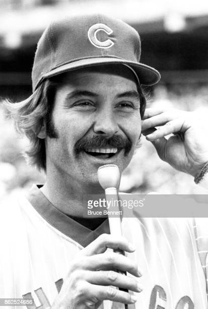 Dave Kingman of the Chicago Cubs does an interview before an MLB game against the Pittsburgh Pirates on July 6 1979 at Three Rivers Stadium in...