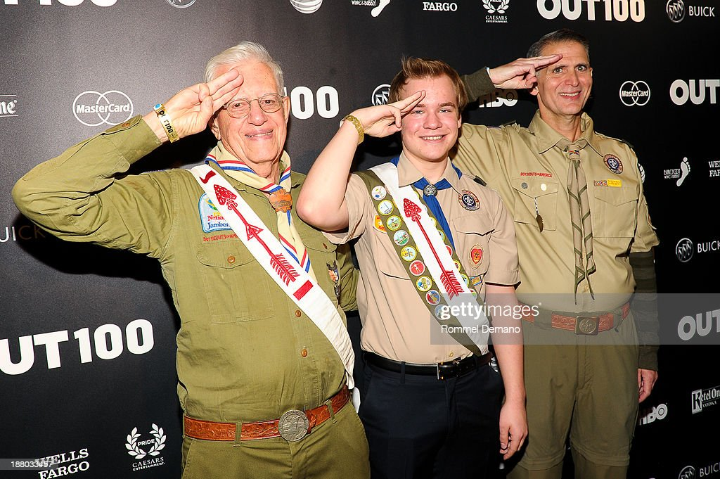 Dave Knapp, Pascal Tessier and Greg Bourke attend the 2013 OUT100 gala at Terminal 5 on November 14, 2013 in New York City.
