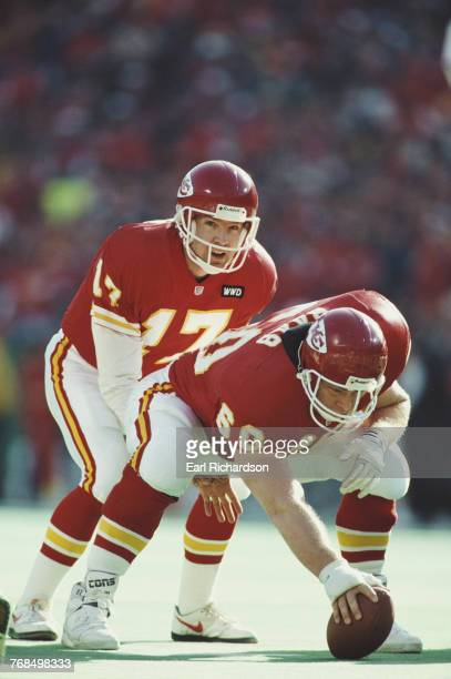 Dave Krieg Quarterback for the Kansas City Chiefs calls the play as the Center Mike Baab prepares to make the snap during the American Football...