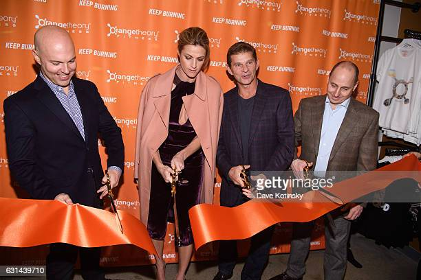 Dave Long Erin Andrews Jerome Kern and Brian Cashma at the Orangetheory Fitness VIP Grand Opening Party at Orangetheory Fitness Astor Place on...