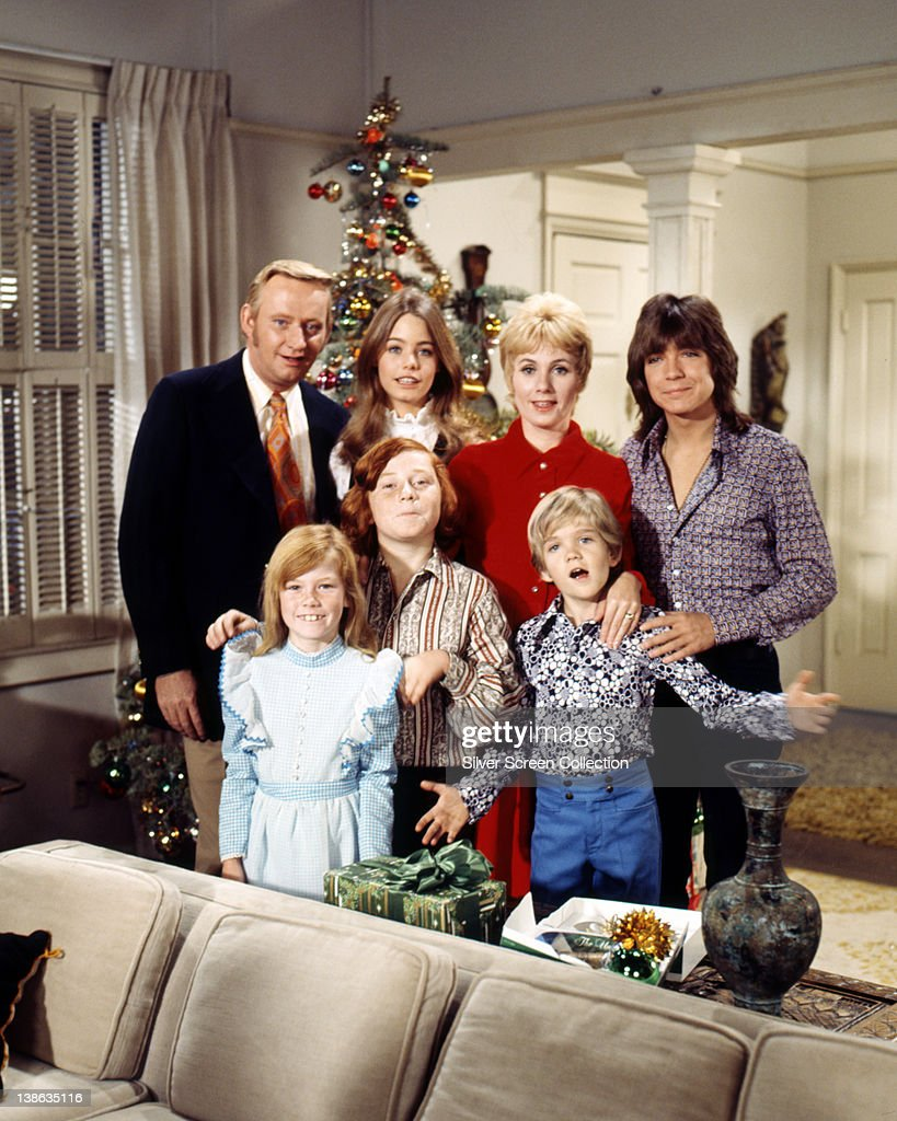 Dave Madden, Canadian actor, Suzanne Crough, US actress, Danny Bonaduce, US actor, Susan Dey, US actress, Shirley Jones, US actress and singer, Brian Forster, US actor, and David Cassidy, US actor and singer pose for a group portrait issued as publicity for the US television series, 'The Partridge Family', USA, circa 1973. The sitcom starred Madden as 'Reuben Kincaid', Crough as 'Tracy Partridge', Bonaduce as 'Danny Partridge', Dey as 'Laurie Partridge', Jones as 'Shirley Renfrew Partridge', Forster as 'Chris Partridge', and Cassidy as 'Keith Douglas Partridge'.