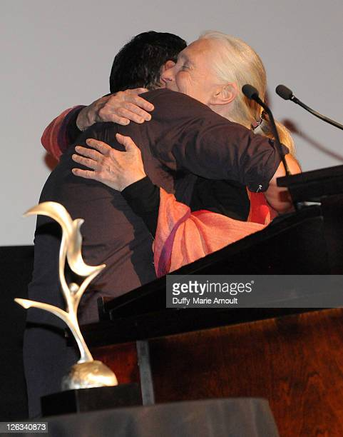 Dave Matthews and Dr Jane Goodall attend 2011 Jane Goodall Global Leadership Awards at the El Capitan Theatre on September 24 2011 in Hollywood...