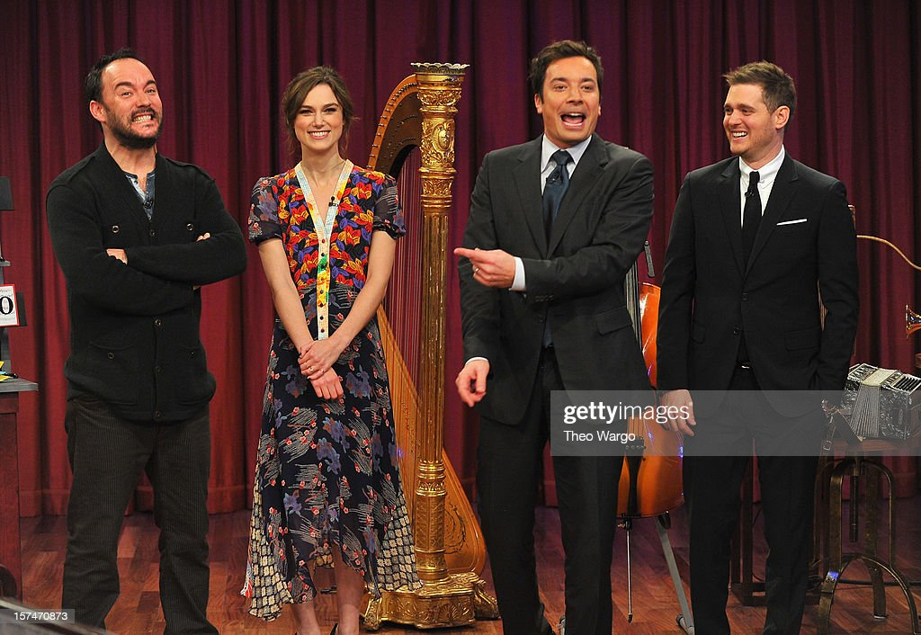 Dave Matthews, Keira Knightley, Jimmy Fallon and Michael Buble during a taping of 'Late Night With Jimmy Fallon' at Rockefeller Center on December 3, 2012 in New York City.