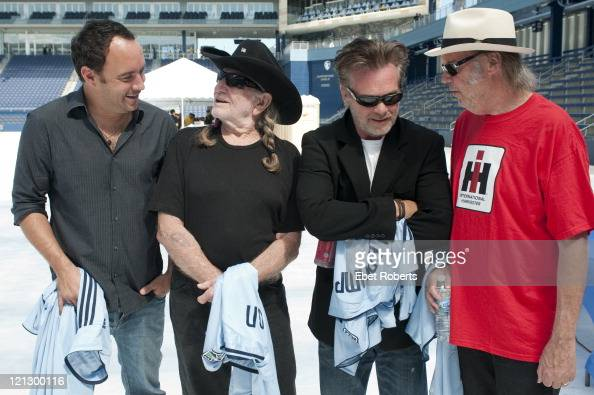 Dave Matthews Willie Nelson John Mellencamp and Neil Young at the Farm Aid Press Conference at LiveStrong Sporting Park on August 13 2011 in Kansas...