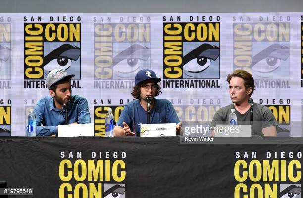 Dave McCarey Kyle Mooney and Beck Bennett speak onstage at the 'Brigsby Bear' cast and filmmakers panel during ComicCon International 2017 at San...