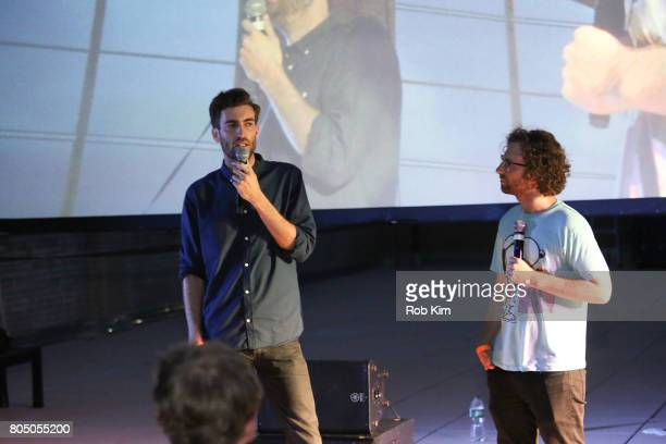 Dave McCary and Kyle Mooney make an intro at a sneak preview of Sony Pictures Classics' BRIGSBY BEAR presented by Rooftop Films at New Design High...