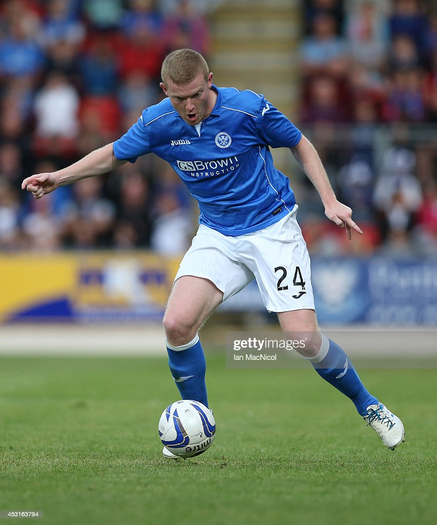 Dave McKay of St Johnstonecontrols the ball during the UEFA Europa League Third Qualifying Round, First Leg match between St Johnstone and Spartak Trnava, at McDiarmid Park on July 31, 2014 Perth, Scotland.