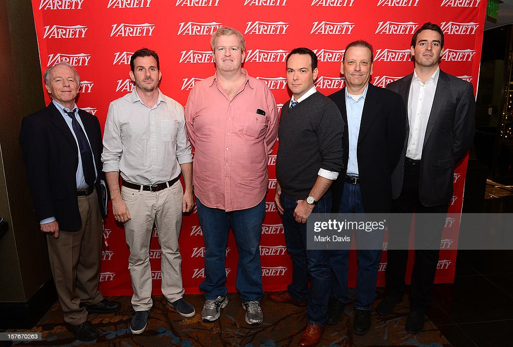 Dave McNary, Reporter, Variety, Chris Bender, Co-Founder, BenderSpink , JC Spink, Co-Founder, BenderSpink, <a gi-track='captionPersonalityLinkClicked' href=/galleries/search?phrase=Dana+Brunetti&family=editorial&specificpeople=566513 ng-click='$event.stopPropagation()'>Dana Brunetti</a>, President, Trigger Street Productions, Paul Green, COO, Anonymous Content, and Ben Forkner, Producer Film 360 and MG360 attend the Future Of Film Summit: Finding Success In The Digital Age Produced By Variety And Digital Media Wire at Sofitel Hotel on December 5, 2012 in Los Angeles, California.