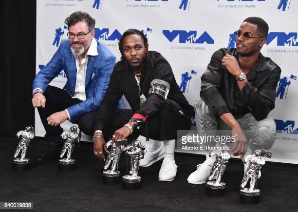 Dave Meyers Kendrick Lamar and Dave Free pose with Video of the Year Best Hip Hop Best Cinematography Best Direction Best Art Direction Best Visual...