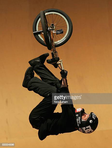 Dave Mirra performs a trick during the BMX Freestyle park final at XGames Eleven on August 6 2005 at the Home Depot Center in Los Angeles California