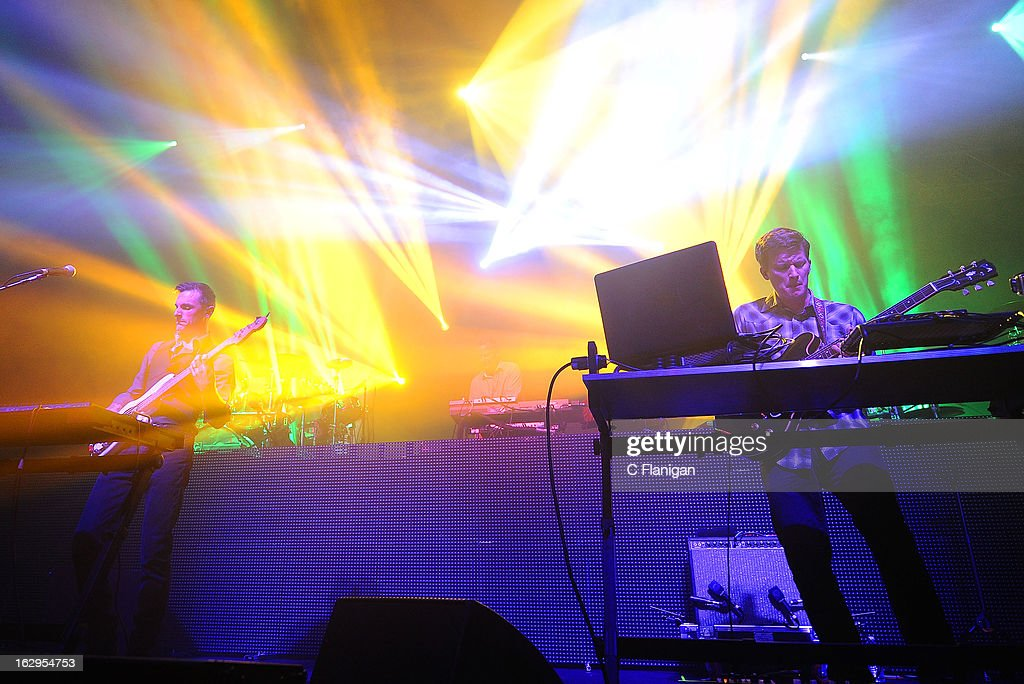 Dave Murphy and Hunter Brown of Sound Tribe Sector 9 (STS9) perform at The Fox Theatre on March 1, 2013 in Oakland, California.