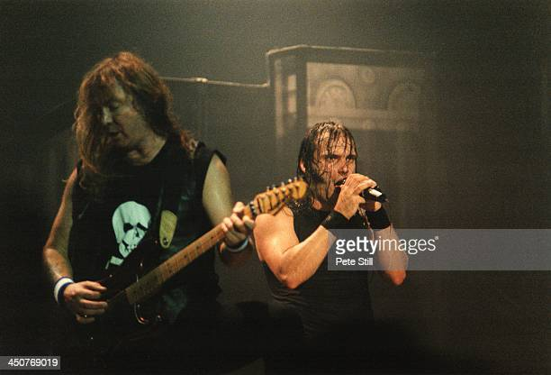 Dave Murray and Blaze Bayley of Iron Maiden perform on stage at Brixton Academy on November 10th 1995 in London England