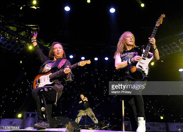 Dave Murray Bruce Dickinson and Janick Gers of Iron Maiden performs on stage at The Soundwave Music Festival at Olympic Park on 27th February 2011 in...
