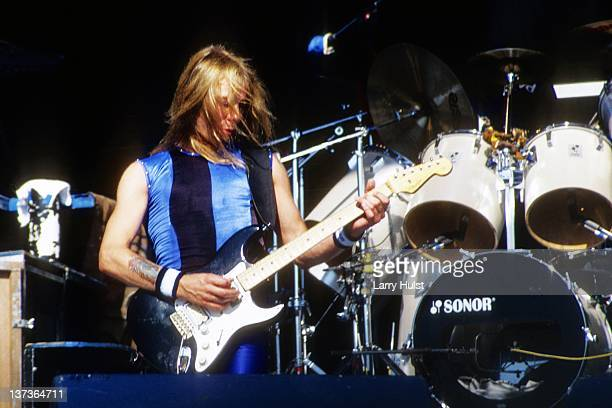 Dave Murray performs with 'Iron Maiden' at Cal Expo in Sacramento California on June 28 1990