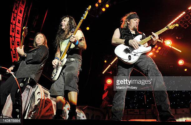 Dave Murray Steve Harris and Adrian Smith of Iron Maiden performs on stage at The Soundwave Music Festival at Olympic Park on 27th February 2011 in...