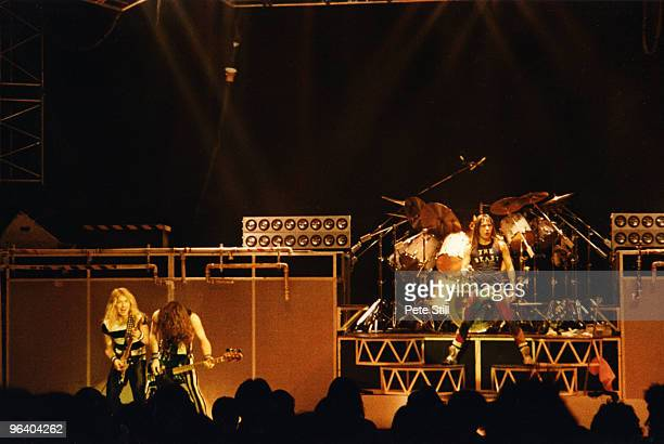Dave Murray Steve Harris and Bruce Dickinson of Iron Maiden perform on stage at Hammersmith Odeon on May 26th 1983 in London United Kingdom