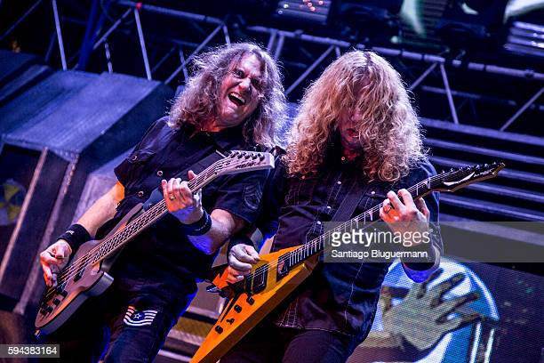 Dave Mustaine and David Ellefson performs during Megadeth concert as part of Dystopia World Tour at Luna Park on August 22 2016 in Buenos Aires...