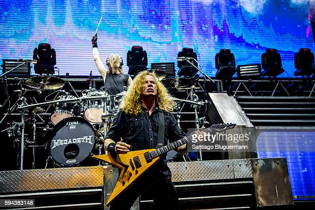 Dave Mustaine and Dirke Verveuren perform during Megadeth concert as part of Dystopia World Tour at Luna Park on August 22 2016 in Buenos Aires...