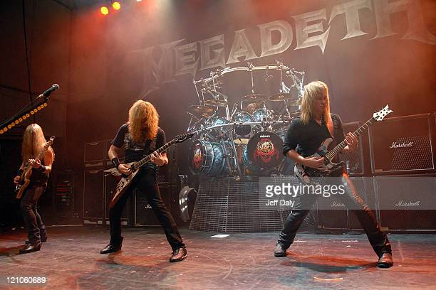 Dave Mustaine and Glen Drover of Megadeth perform at Revolution Live on October 3 2007 in Fort Lauderdale Florida