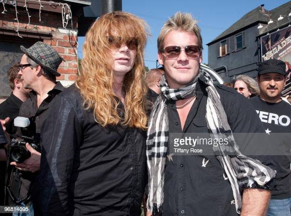 Dave Mustaine of Megadeth and Chris Jericho of WWE attend the 2nd Annual Golden Gods Awards Nominees and Press Conference at The Rainbow Bar and...