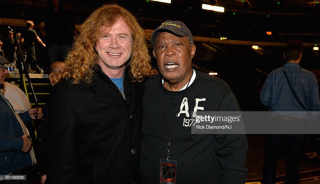 Dave Mustaine of Megadeth and Sam Moore pose backstage during rehearsals of Playin' Possum! The Final No Show Tribute To George Jones at Bridgestone Arena on November 21, 2013 in Nashville, Tennessee.