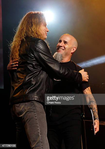 Dave Mustaine of Megadeth and Scott Ian of Anthrax at the Metal Hammer Golden Gods awards on June 15 2015 in London England