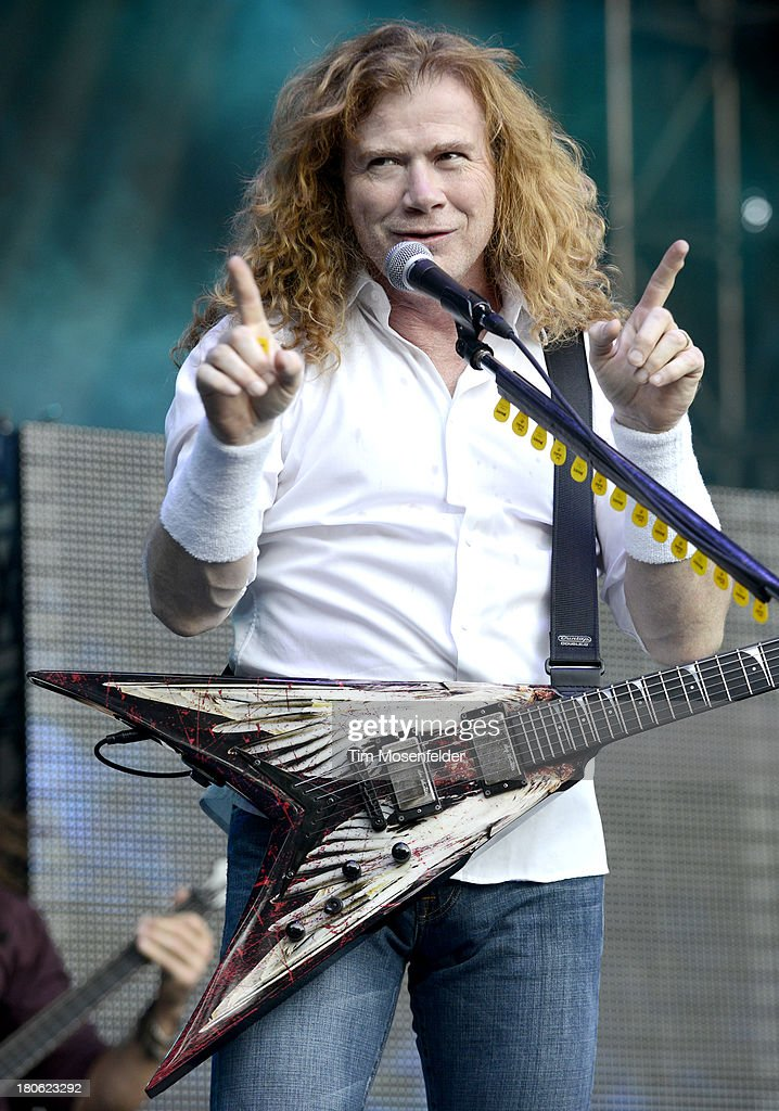 Dave Mustaine of Megadeth performs as part of the Aftershock Music Festival at Discovery Park on September 14, 2013 in Sacramento, California.