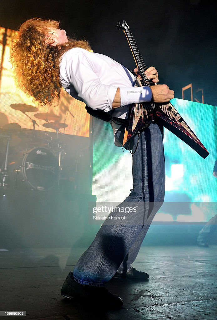 Dave Mustaine of Megadeth performs at Manchester Academy on June 5, 2013 in Manchester, England.