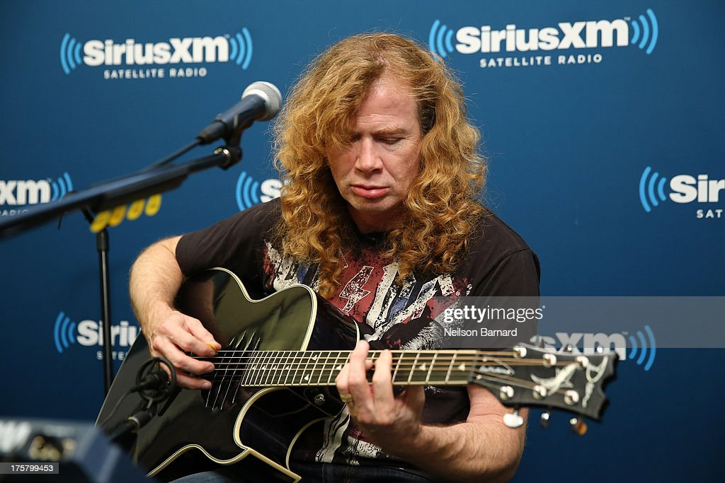 Dave Mustaine of Megadeth performs at SiriusXM Studios on August 8 2013 in New York City