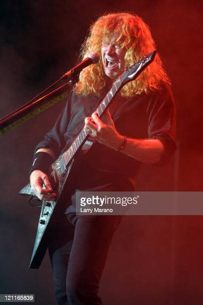 Dave Mustaine of Megadeth performs at the Rockstar Energy Drink Mayhem Festival at Cruzan Amphitheatre on August 14 2011 in West Palm Beach Florida