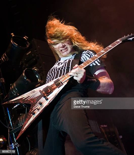 Dave Mustaine of Megadeth performs on stage as part of the Priest Feast Tour at the LG Arena on February 14 2009 in Birmingham