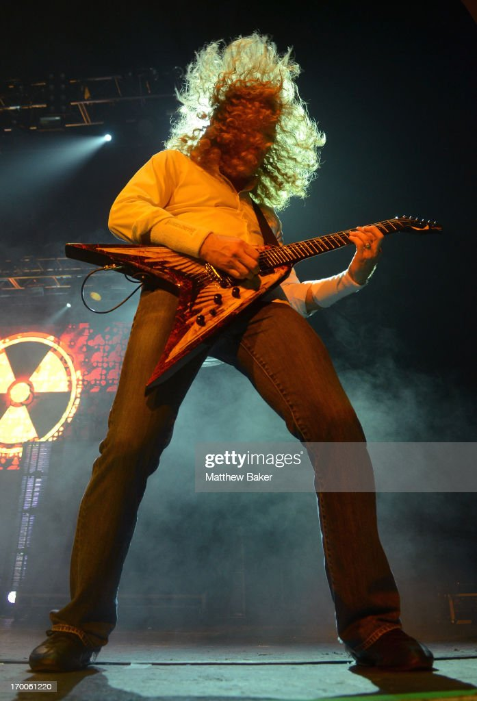 Dave Mustaine of Megadeth performs on stage at Brixton Academy on June 6, 2013 in London, England.
