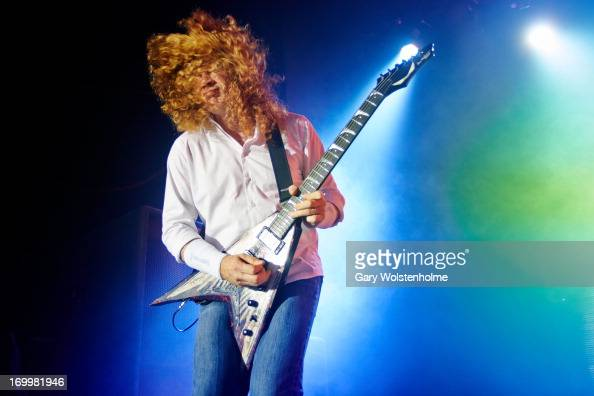 Dave Mustaine of Megadeth performs on stage at Manchester Academy on June 5 2013 in Manchester England