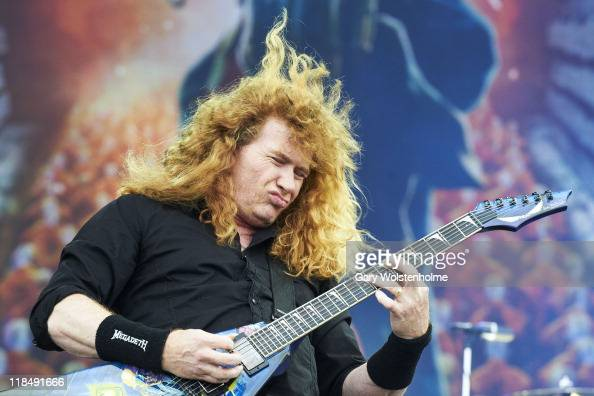 Dave Mustaine of Megadeth performs on stage during the first day of Sonisphere 2011at Knebworth House on July 8 2011 in Stevenage United Kingdom