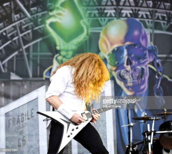 Dave Mustaine of Megadeth performs on stage on the second day of Download Festival at Donington Park on June 12 2010 in Castle Donington England