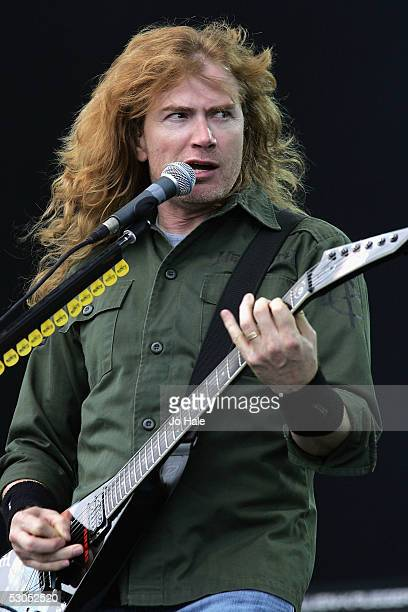 Dave Mustaine of Megadeth performs on the Main stage on day one of this year's Download Festival at Donington Park Castle Donington on June 10 2005...