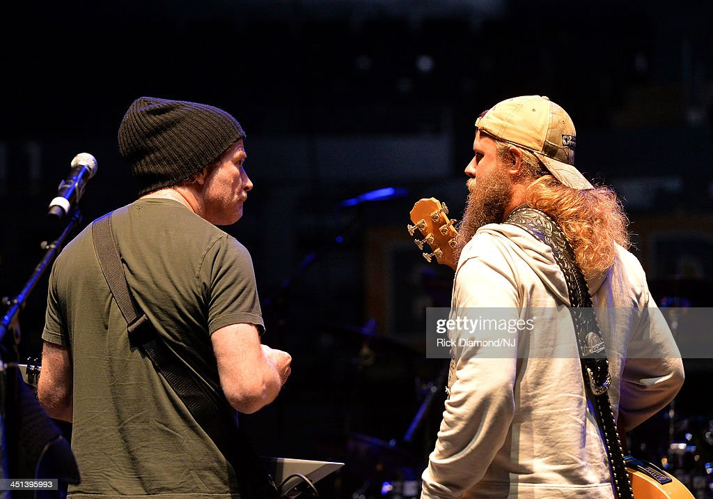 Dave Mustaine of Megadeth performs with Jamey Johnson during rehearsals for Playin' Possum! The Final No Show Tribute To George Jones at Bridgestone Arena on November 22, 2013 in Nashville, Tennessee.