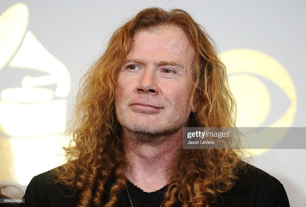 Dave Mustaine of Megadeth poses in the press room at the 59th GRAMMY Awards at Staples Center on February 12, 2017 in Los Angeles, California.