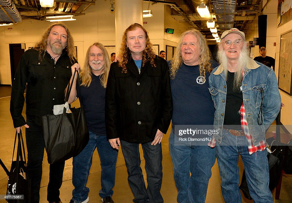 Dave Mustaine of Megadeth (Center) poses with Doug Phelps, Fred Young, <a gi-track='captionPersonalityLinkClicked' href=/galleries/search?phrase=Richard+Young&family=editorial&specificpeople=221404 ng-click='$event.stopPropagation()'>Richard Young</a> and Greg Martin of The Kentucky Headhunters during rehearsals of Playin' Possum! The Final No Show Tribute To George Jones at Bridgestone Arena on November 21, 2013 in Nashville, Tennessee.
