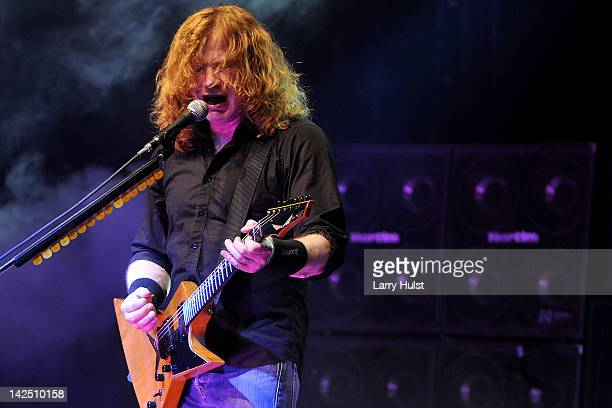 Dave Mustaine performs with 'Megadeath' at the Fillmore Auditorium in Denver Colorado on February 28 2012