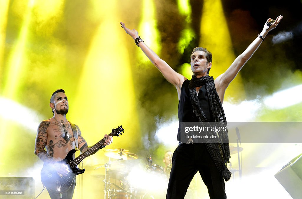Dave Navarro and Perry Farrell of Janes Addiction perform during the 2015 Voodoo Music Arts Experience at City Park on October 31 2015 in New Orleans...