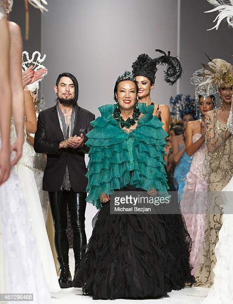 Dave Navarro Sue Wong and Katie Cleary runway finally at SUE WONG Spring 2015 'Fairies Sirens' Fashion Show on October 15 2014 in Los Angeles...