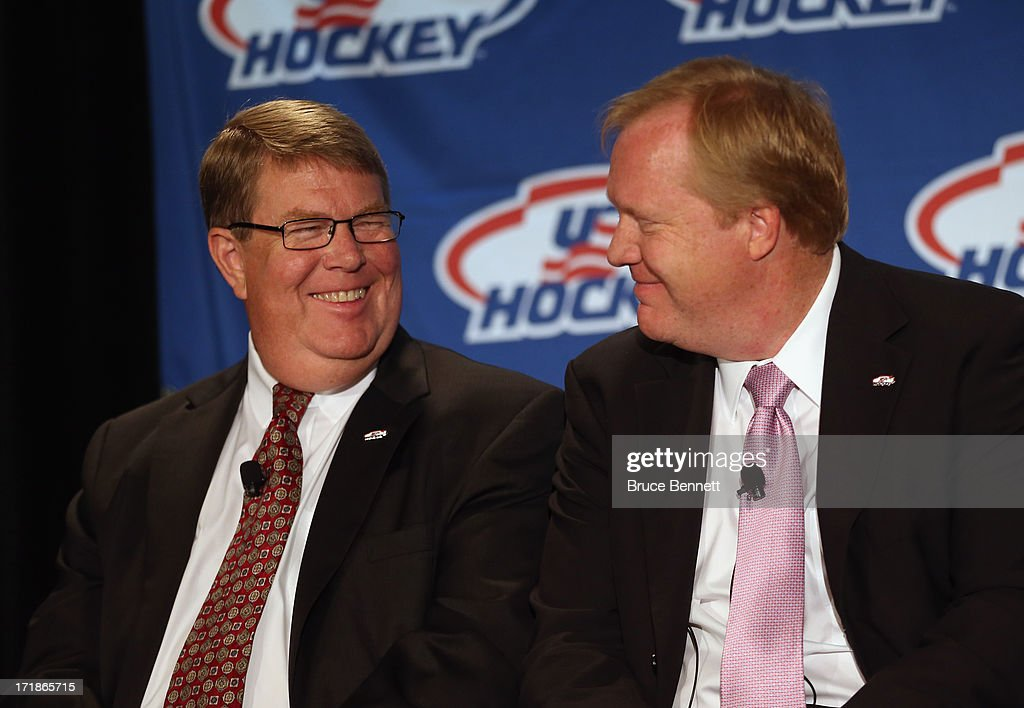 Dave Ogrean, executive director and Jim Johannson, assistant executive director of hockey operations for USA Hockey speak with the media regarding the 2014 Men's Olympic Hockey Team at the Marriott Marquis Hotel on June 29, 2013 in New York City.