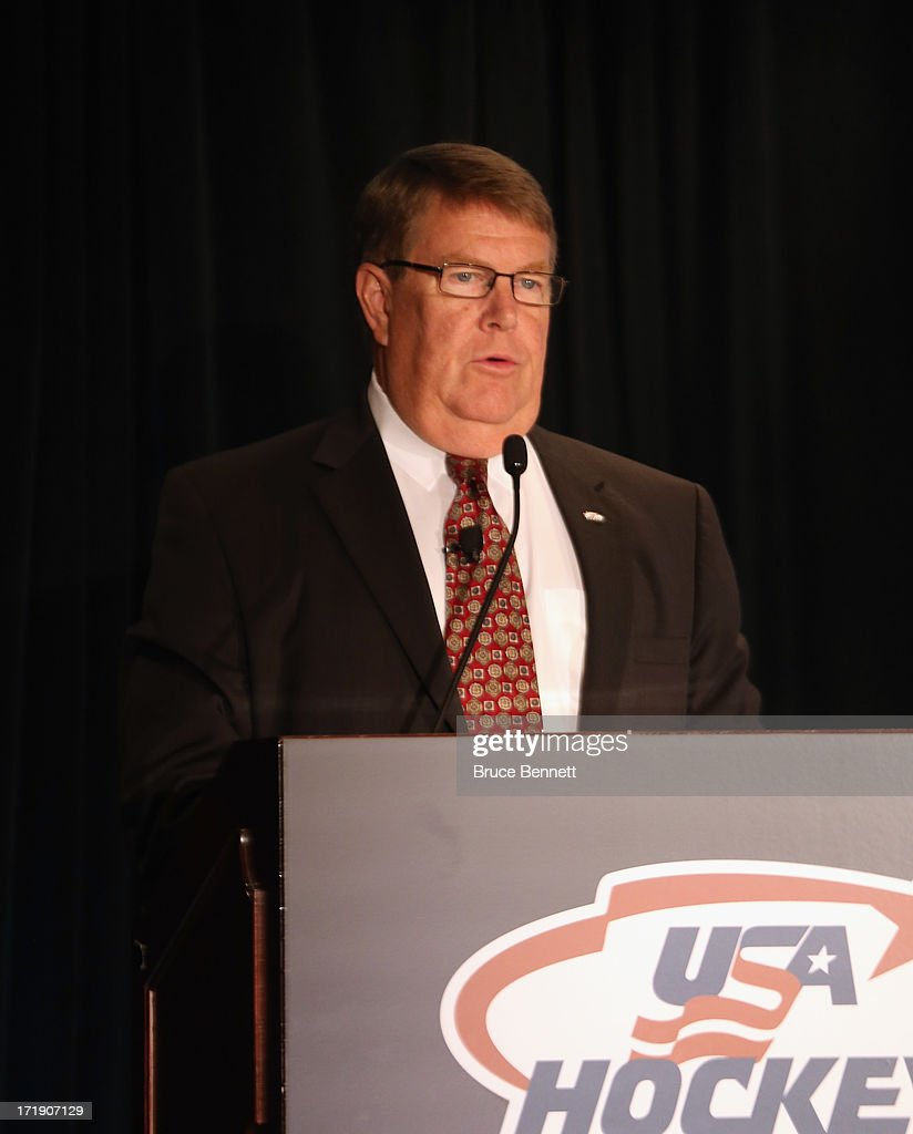 Dave Ogrean, executive director of USA Hockey addresses the media during a press conference at the Marriott Marquis Hotel on June 29, 2013 in New York City.