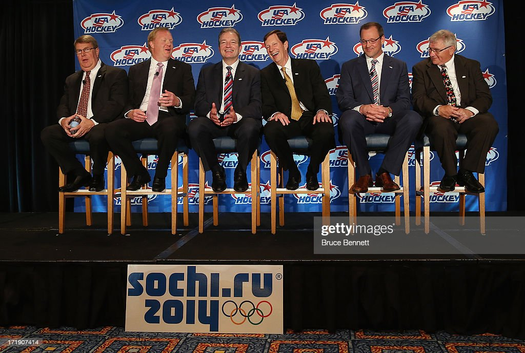 Dave Ogrean, Jim Johanson, Ray Shero, David Poile, Dan Bylsma and Ron DeGregorio attend the press conference for the 2014 Men's Olympic Hockey Team at the Marriott Marquis Hotel on June 29, 2013 in New York City.